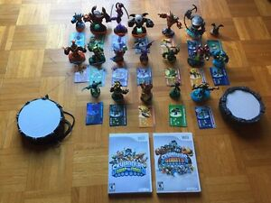 Skylanders 2 wii games with platforms & 19 figurines with cards