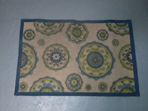 Blue and Green Pattern Welcome Mat 3ft x 2 ft