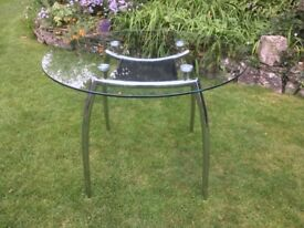 Modern Glass Dining Table Seats 4 People Stainless Steel Legs Very Strong