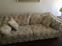M&S beige and cream sofa and two matching chairs