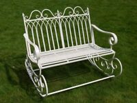 Victorian Style Metal Garden Rocking Chair Bench In A Shabby Chic Antique Cream