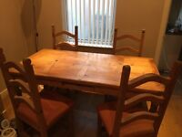 Mexican pine dining table and 4 chairs