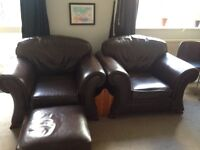 Real leather armchair with footstep
