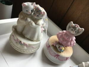 4 Kitty Cucumber Schmid music boxes porcelain rare cat figurines