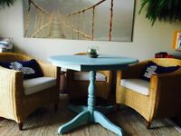 Table solid wood, antique, seafoam blue shabby chic