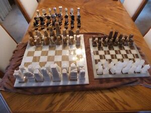 2 ONYX Chess Boards & pieces-hand made in Mexico-Cinco deMayo