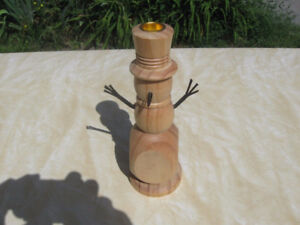 Folk Art Wood Snowman Candle Holder.