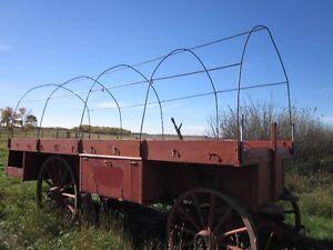 Wagon box with hoops & tarp