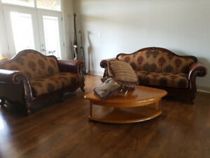 Traditional Leather/Fabric High Back Sofa & Loveseat Retail $550