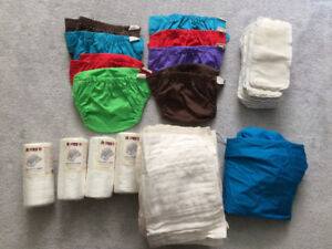Prefold Cloth Diapers + Covers, Liners, Doublers and Pail Liner
