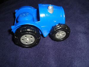 Large size Blocks style Mega Bloks Blue TRACTOR Farm Toy Vehicle