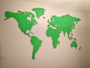 World Map: 7' x 4' Large Wood Wall Mount
