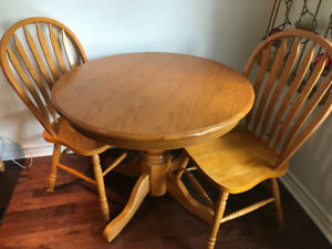 Beautiful Solid Pine Kitchen Table with Two Chairs