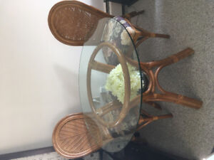"""36"""" dia. Glass Top Boca Rattan Table with 4 Chairs"""