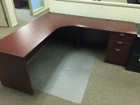 L-Shape Desks w/ BBF Ped - Cherry Brown (Various Sizes)