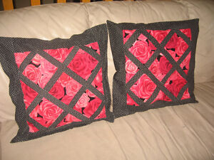 2  Quilted cushion covers -Rose/polka-dot