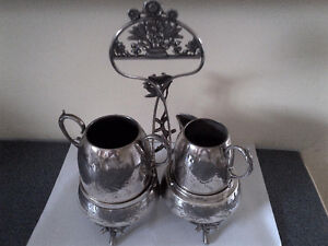 Antique Standard Silver Co. Creamer & Sugar with Stand #1420