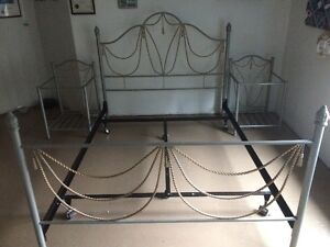 Metal Queen Bed frame set with Metal and Glass Bedside tables