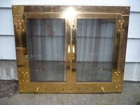 Fireplace Front / Hearth - Brass with Glass Doors