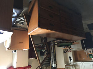 Chest of drawers with mirror. 2white pantry closets. 2 computer