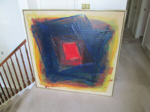 lrg Mid Century abstract painting