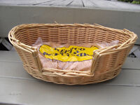 Wicker Pet Bed includes cushion for cat or dog