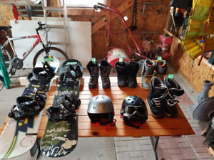JR. Snow Boards, boots and helmets