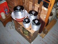 Metal Cannisters from the kitchen w tops
