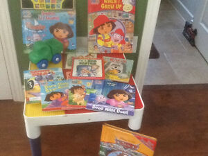 Lego table and books