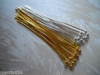 Nietstifte Kettelstifte Kugel Pins silber gold  Ø 0,7 mm x 45-48mm Schmuck DIY