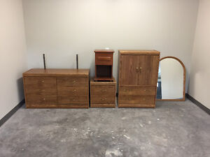 Dresser with mirror, Tallboy and two nightstands