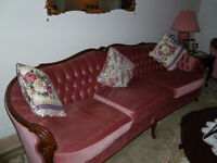 Settee and loveseat and chair and ottoman
