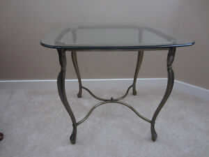 Hammary Furniture Glass / Metal Square End Table