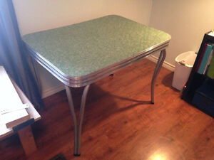 Vintage formica turquoise table and chairs