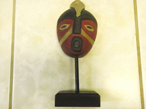 Wooden African Tribal Mask Artifact Display Stands