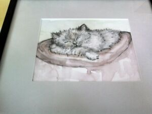 Watercolour of a Cat  by TINJA