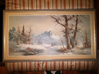 Oil Painting - Mountain Winter Scene