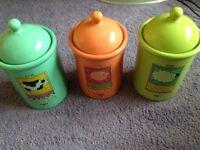 Storage Jars Set Three Multi Colour Novelty Tea Coffee Sugar with Lids