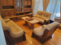 3 PICS SOLID OAK ALL LEATHER SOFA SET, MADE IN GERMANY