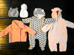 0-6 month girls winter suit and hats