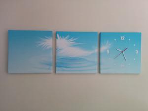 Modern 3 pc Scenic Canvas Wall Clock