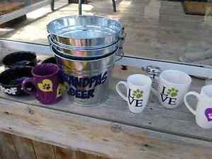 Custom mugs, glasses, and pails. Custom gifts