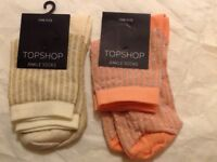 💛❤️ 2pairs of Top Shop glitter ankle socks brand new