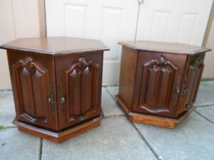 Two Matching Hexagon End Tables