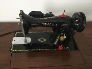 Vintage 1945 Singer 15-90 Sewing Machine, Cabinet & Stool