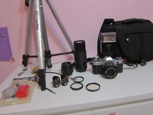 Canon AE-1 Film Camera; Lenses, Flash, Bag, Film, Tripod