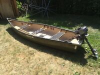 Square back canoe 15f with 2 hp gas engine open to trades