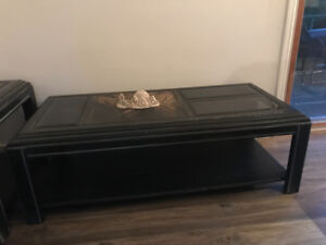 Solid wood coffee table with two end tables