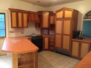 Cherry and maple cabinets
