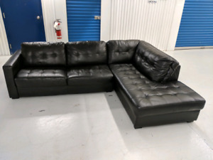 Black  Faux   Leather L-Shape  Sectional  with   Chaise Lounge